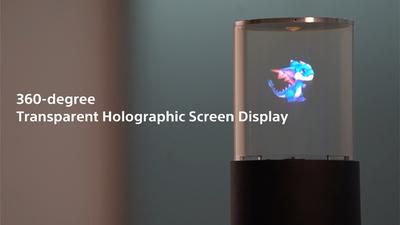 让 2D 影像栩栩如生,索尼秀 360° 圆柱型透明式显示屏