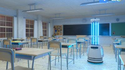 优必选推出带有 UVC 灯管的消毒机器人,可自动巡航 | CES 2021