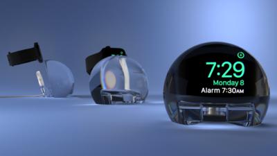 充电底座、放大镜、扬声器,这个手表配件将 Apple Watch 变成了床头闹钟