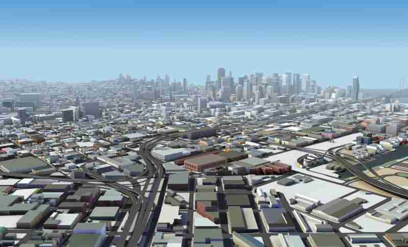 The city of San Francisco rendered using HERE Premier 3D Cities