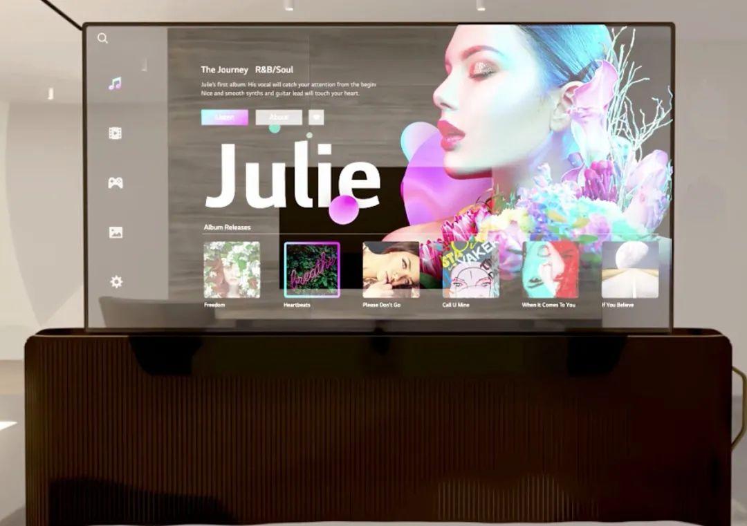 9-LG 55 寸可卷曲的透明 OLED 电视