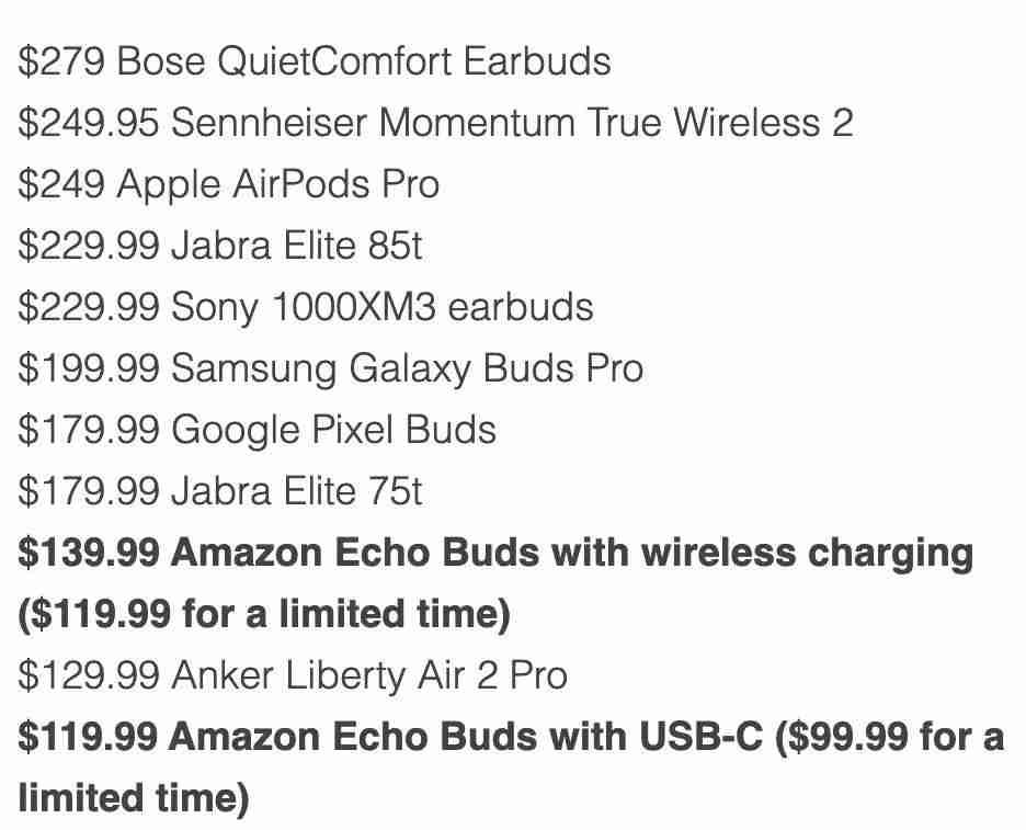 9-第二代 Echo Buds与其他耳机价格对比